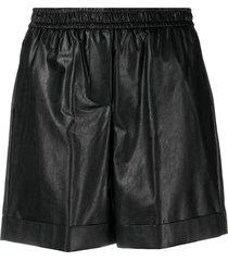 nude high-rise elasticated shorts - black