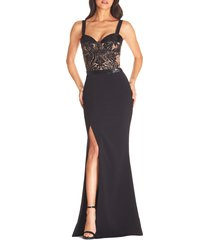women's dress the population monique sequin lace bustier gown