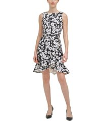 calvin klein petite floral-print ruffled-bottom sheath dress
