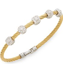 diamond, 18k yellow gold & steel coil bracelet