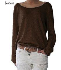 zanzea camiseta de las mujeres de nueva casual-marrón