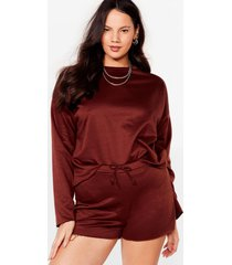 womens our day to day plus shorts lounge set - chocolate