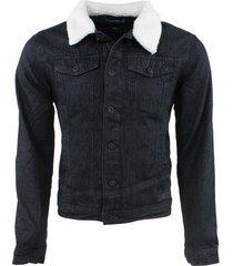 indicode heren spijkerjas teddy kraag jean - zwart