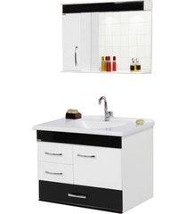 conjunto de banheiro rorato monaco, branco e preto, 80 cm