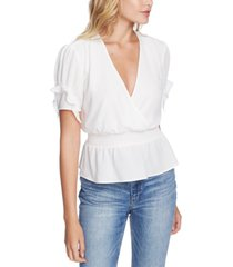 1.state smocked-waist ruffle-sleeve top