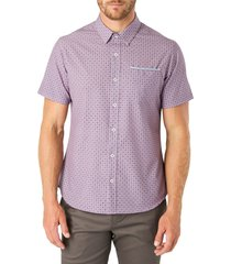 men's 7 diamonds another dimension slim fit short sleeve button-up shirt, size x-large - pink