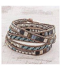 glass beaded wrap bracelet, 'night of desire' (guatemala)