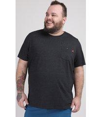 camiseta masculina plus size com bolso manga curta gola careca preta