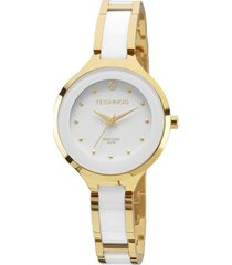 relógio feminino technos 2035lyw/4b dourado/branco 36mm