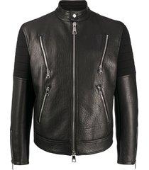 neil barrett jaqueta biker com recortes canelados - preto