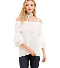 sweater manga flare blanco bhora