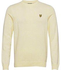 cotton knitted crew neck jumper gebreide trui met ronde kraag wit lyle & scott