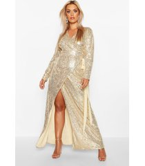 plus sequin wrap floor sweeping maxi dress, gold