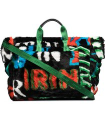 kirin logo-print faux-fur tote bag - black