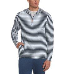 cubavera men's stripe 1/4-zip hooded sweater