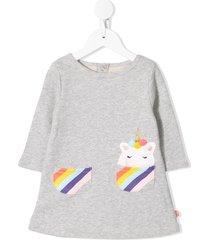 billieblush unicorn-patch jersey dress - grey