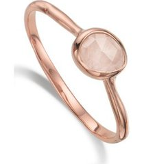 siren rose quartz small stacking ring, rose gold vermeil on silver