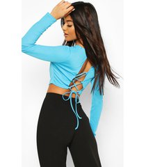 crepe strappy open back top, blue