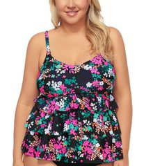 island escape plus size tiered tankini top, created for macy's women's swimsuit