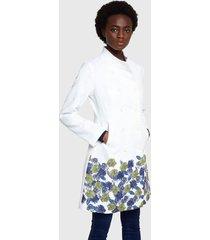 abrigo desigual blanco - calce regular