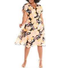 plus size women's estelle sherbet garden floral chiffon wrap dress