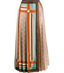 multicolored monogram wrap skirt