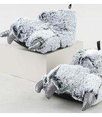 pantufa feminina pata de urso com garras em pelúcia cinza