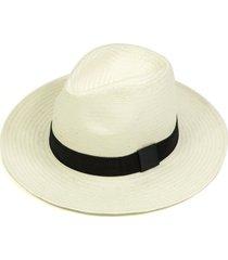 chapéu chapelaria vintage estilo panamá branco - aba média - faixa preta - kanui