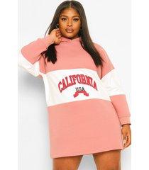 plus california sweatshirt jurk met capuchon, rose