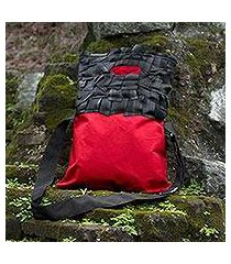 cotton and recycled bicycle tire shoulder bag, 'wild eco ruby' (guatemala)