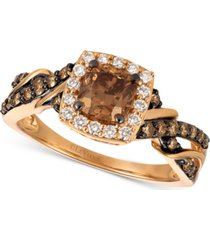 le vian chocolatier diamond ring (1-1/6 ct. t.w.) in 14k rose gold