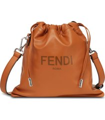 fendi small sack drawstring shoulder bag - brown