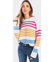 cathie bold striped pullover sweater - white