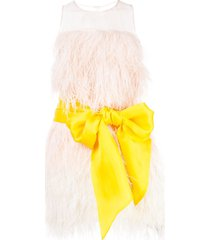 cynthia rowley feather party dress - pink