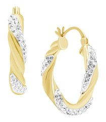 clear crystal twisted click top hoop earring in fine silver plate or gold plate