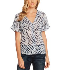 vince camuto printed ruffle-cuff blouse