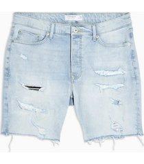 mens blue bleach ripped denim skinny shorts