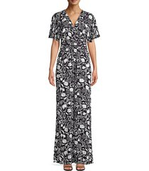 likely women's nellie floral v-neck jumpsuit - navy white - size 0