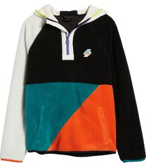 men's superdry colorblock fleece hoodie, size xx-large - black