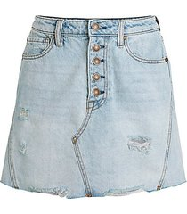 distressed a-line denim skirt