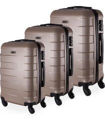 conjunto de mala de viagem abs yins copenhagen cadeado tsa rodas giro 360º 3 peças p/m/g champagne dourado
