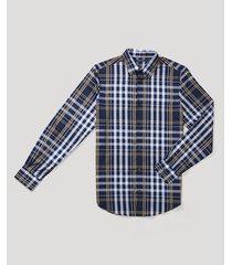 camisa casual cuadros navy perry ellis