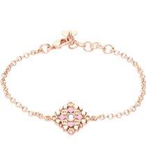 bracciale in ottone rosato con ciondolo forma rombo, cristalli e smalto rosa per donna