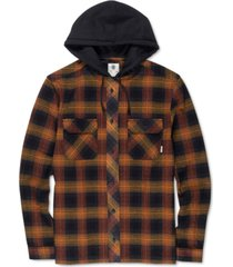 element men's wentworth shadow plaid hooded flannel shirt