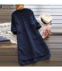zanzea superior largo de la blusa sólido camisa de vestir de mujer de manga larga bolsillos botones vestido -azul
