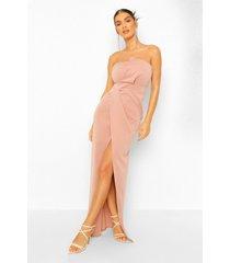 strapless maxi wikkel jurk met split, blush