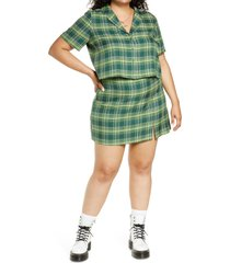plus size women's bp. plaid crop button-up shirt, size 3x - green