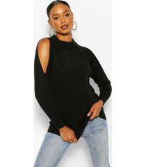 cold shoulder high neck sweater, black