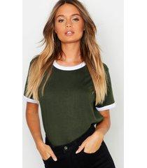 basic ringer t-shirt, khaki
