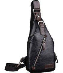 mochila bolso maleta hombre cruzada pequeño cuero pu 4484 negro